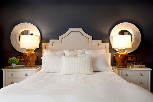 Genial Captivating Bedroom With Charming Bed Also Table Lamps And Mirrors