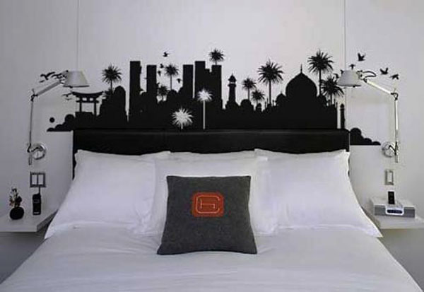 Captivating Bedroom With Impresive Dark Background also Arch Wall Lamp