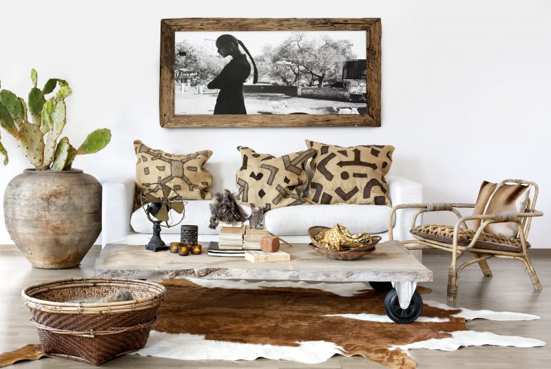 Captivating Sofa Under Lush Painting Plus Rolling Table For Small Scale  Furniture