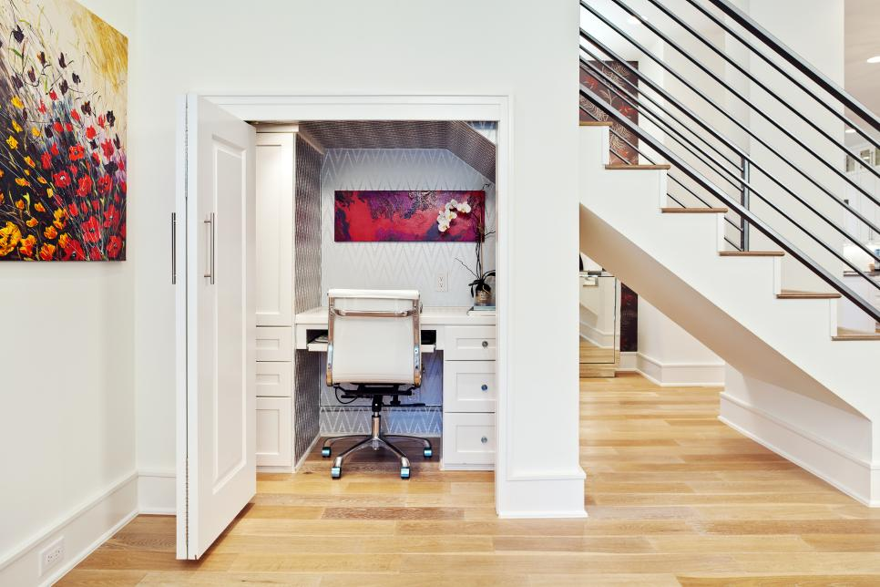 Captivating Space Saving Desk Under Ladder With Office Chair and Door