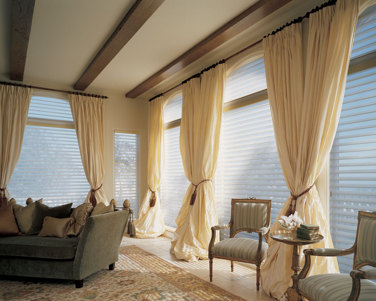 Captivating Window Treatment Ideas also Charming Arm Chairs and Sofa