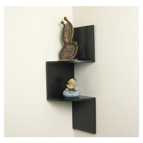 Exceptionnel Chic Design Of Black Wooden Small Corner Shelf For Accessories