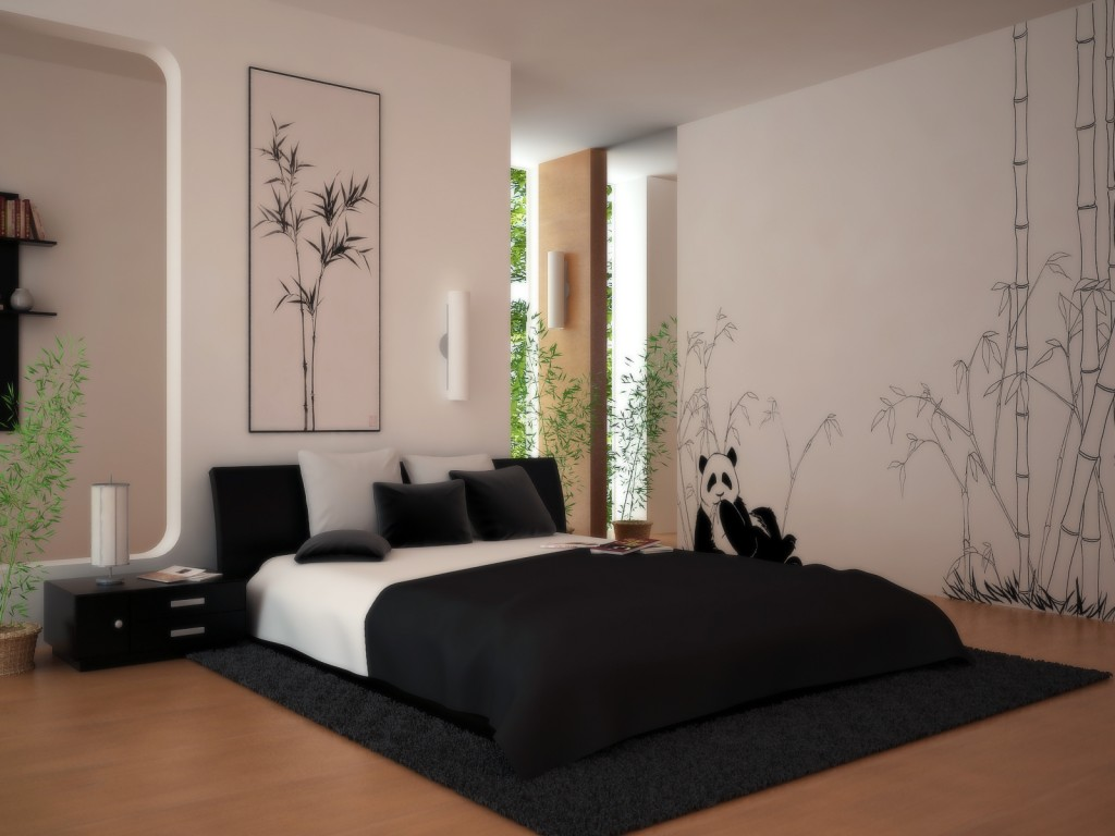 Classy Bamboo and Panda Wall Bedroom Paint Color Ideas also Lush Bed