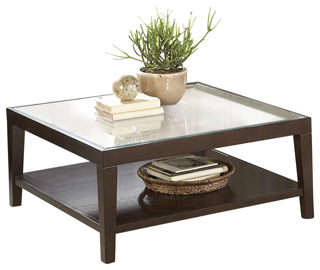 Classy Design Of Square Glass Coffee Table With Wooden Frames and Legs
