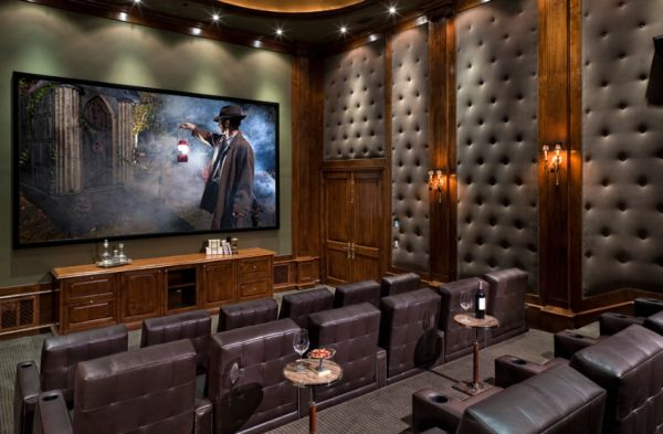 Classy Interior Movie Room Ideas With Wooden Cabinet Also Tufted Wall Decor