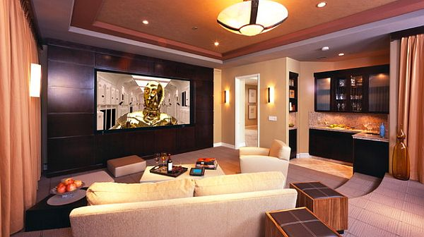 Contemporary Movie Room Furniture With Sofa Set also Table and Ceiling Lamp