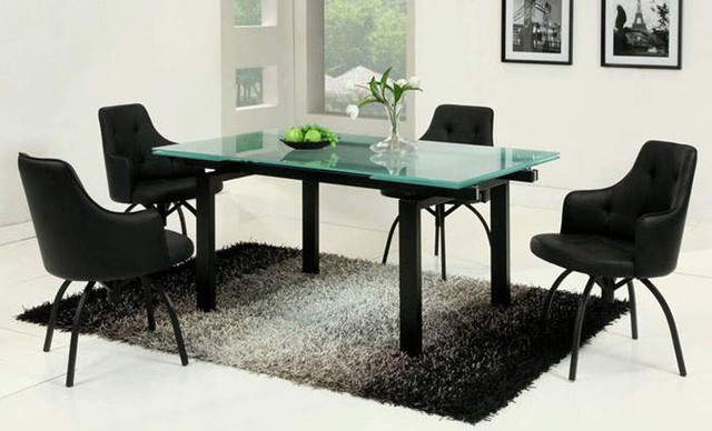 Contemporary Style Of Glass Dining Tables With Black Chairs and Carpet