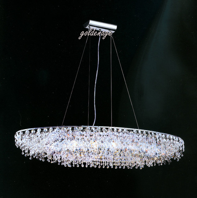 Contemporary Swarovsky Crystal Chandelier With Stainless Steel Frame and Cable