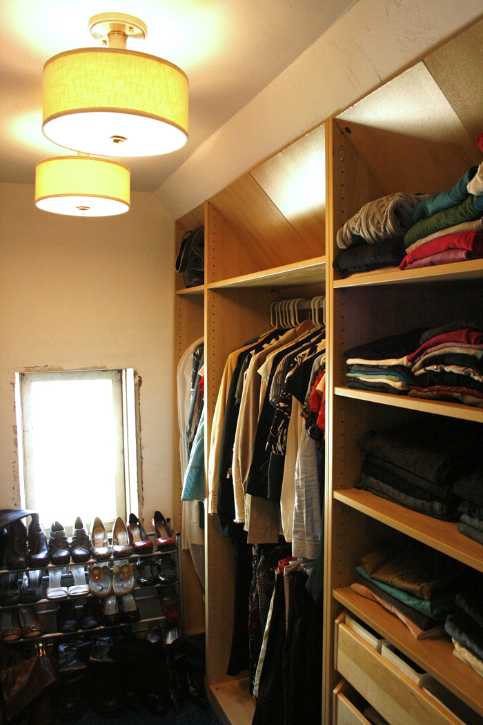Cool Design Of The Closet Light Fixtures With White Wall Added With Brown Wooden Shelves Ideas With Yellow Lamps