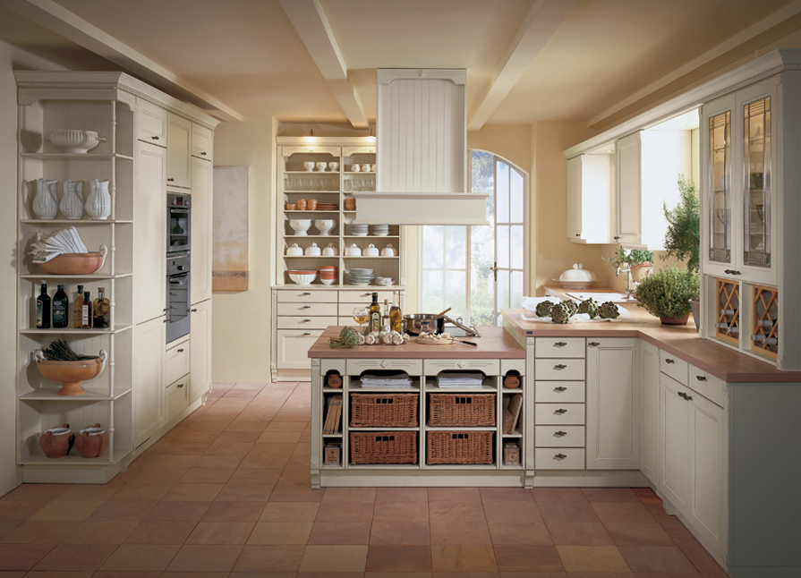 Cool Design Of The Country Style Kitchen With Brown Wooden Floor Ideas Added With White Kitchen Cabinets And Some Storages At The Kitchen Areas