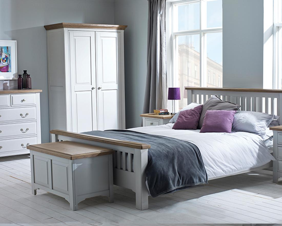 Cool Design Of The Gray Bedroom Furniture With Storage And White Wooden Floor Added With White Wooden Glass Windows Ideas