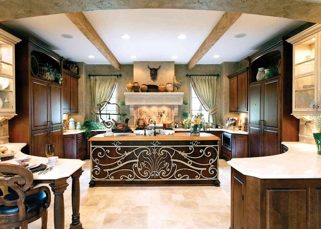 Cool Design Of The Italian Kitchen Decor With White Marble Countertops Added With White Tile Floor Ideas