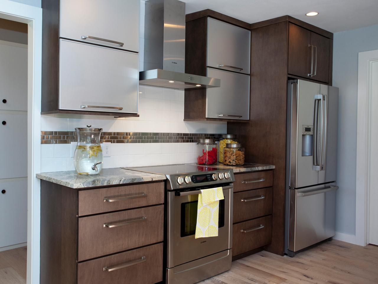 Cool Design Of The Stainless Steel Kitchen Cabinets With Brown Wooden Drawers Added With Brown Wooden Floor Ideas