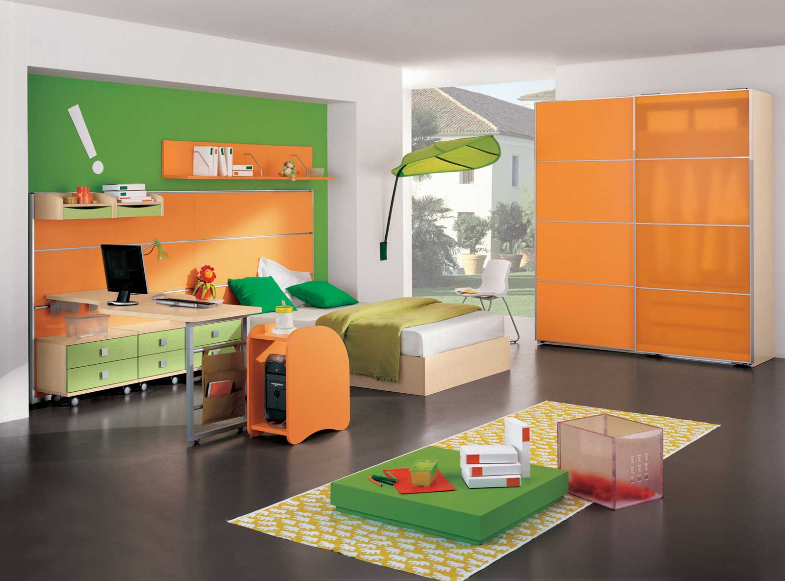 Cool Interior Kids Bedroom With Desk also Bed Plus Wall Shelve
