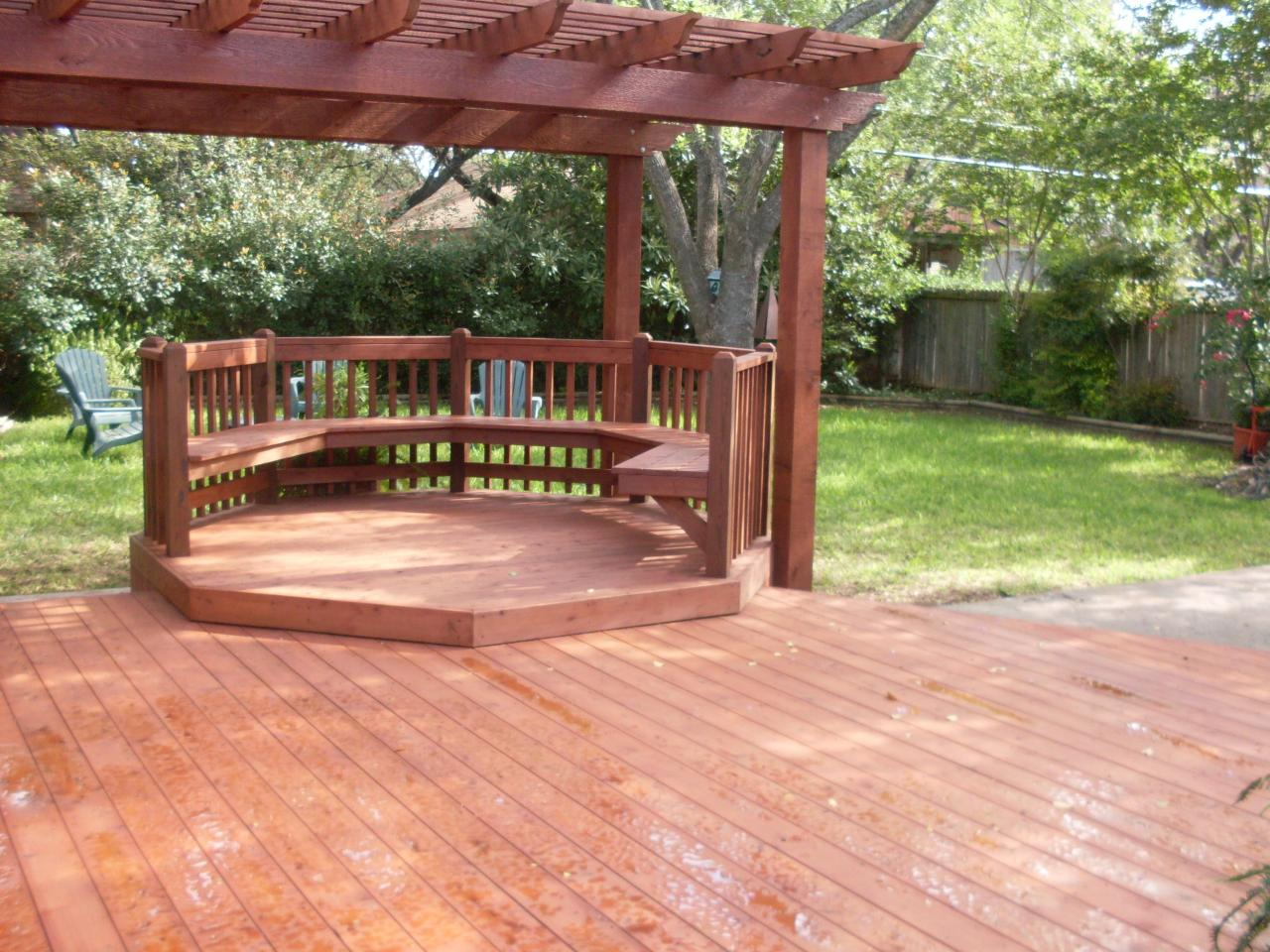 Cozy Backyard Deck Using Wooden Floor Tile also Charming Seat and Railing