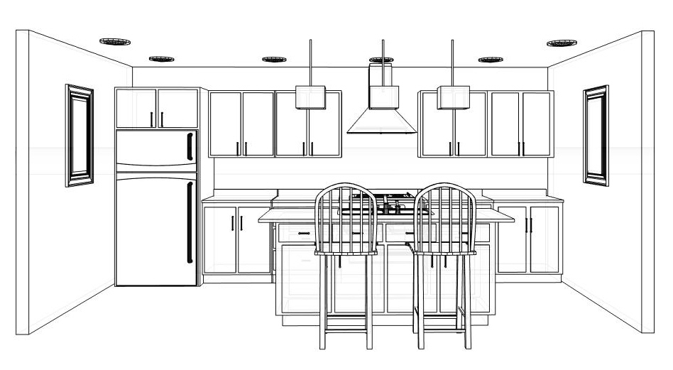 Cozy Deisgn Of The Kitchen Design Layout With Kitchen Island Added With Three Hanging Lamp And Cabinets And Vanities Ideas