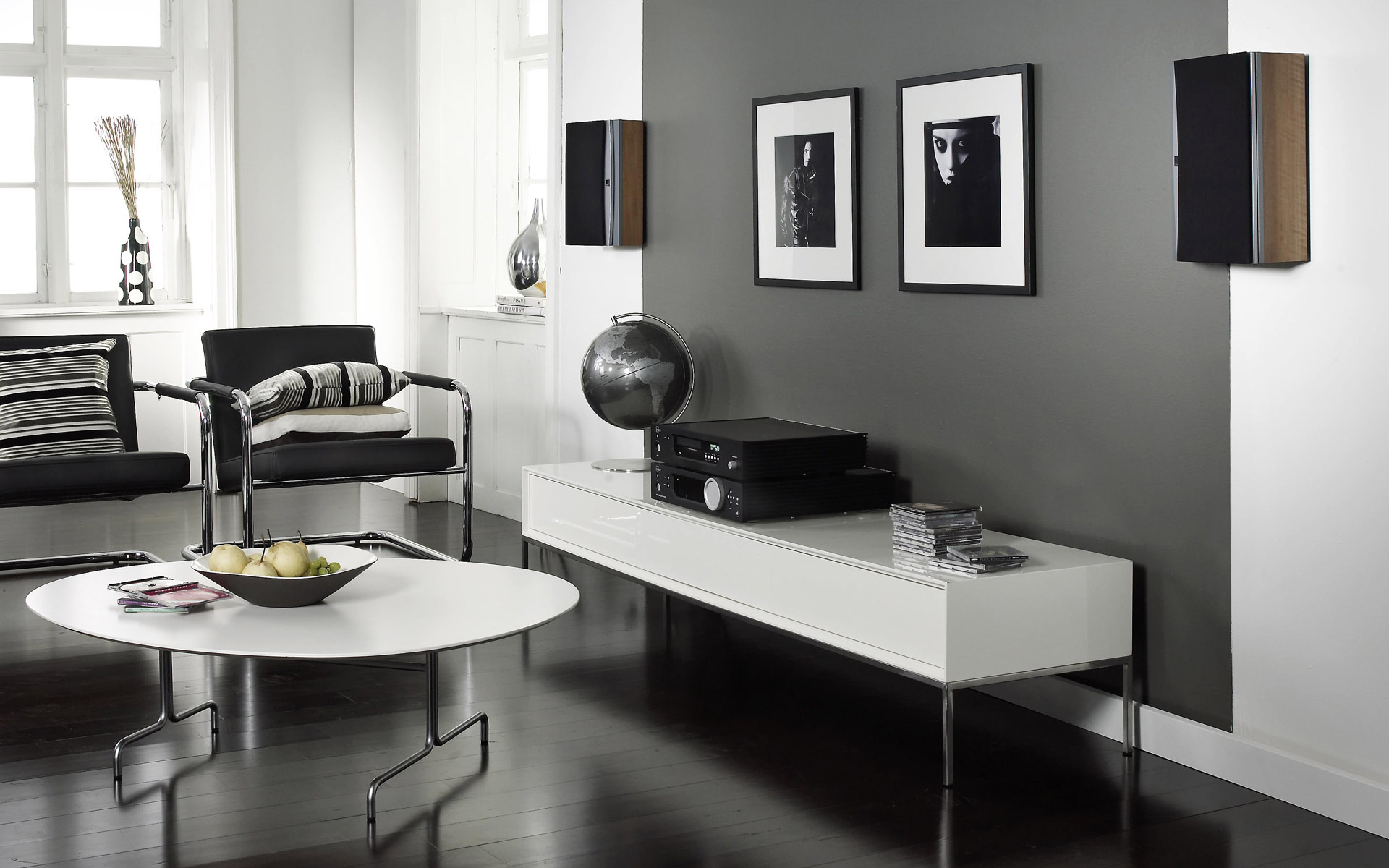 Cozy Design Of The Gray Living Room Ideas With Black And White Wall Ideas Added With Black Floor Ideas And White Rounded Table Ideas