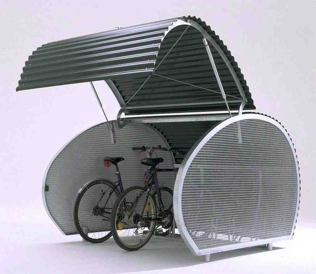 Creative Design Of The Bike Storage Outdoor With Unique Shape Made Of Iron With White And Black Color