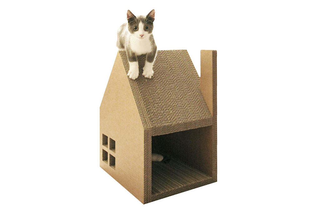 Cut Cardboard Cat House Design Ideas With Slanting Rooftop Style