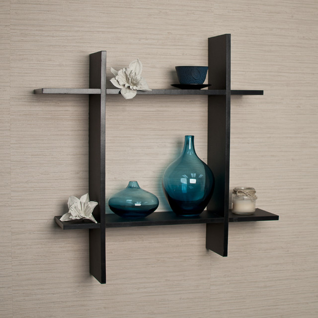 cute accessories for decorating public room on black floating shelves