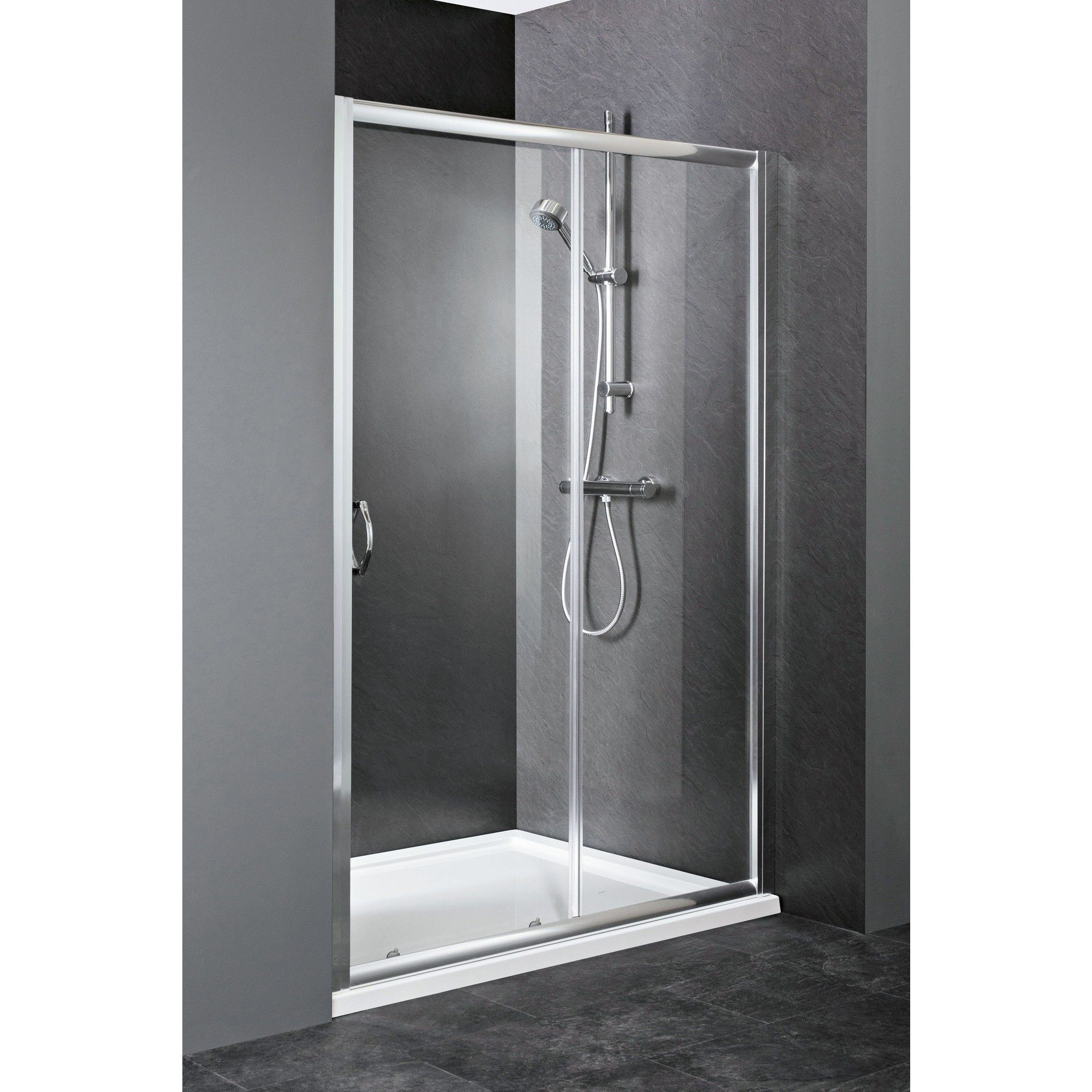 Cute Design Of Sliding Door Showering Area Of Visible Glass Material