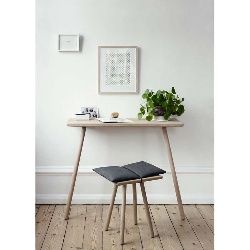 Cute Design Of Small Computer Desk also Stool With Black Cushion