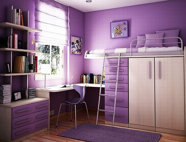 Cute Interior Purple Girl Room Paint Ideas also Bunk Bed and Study Table Set