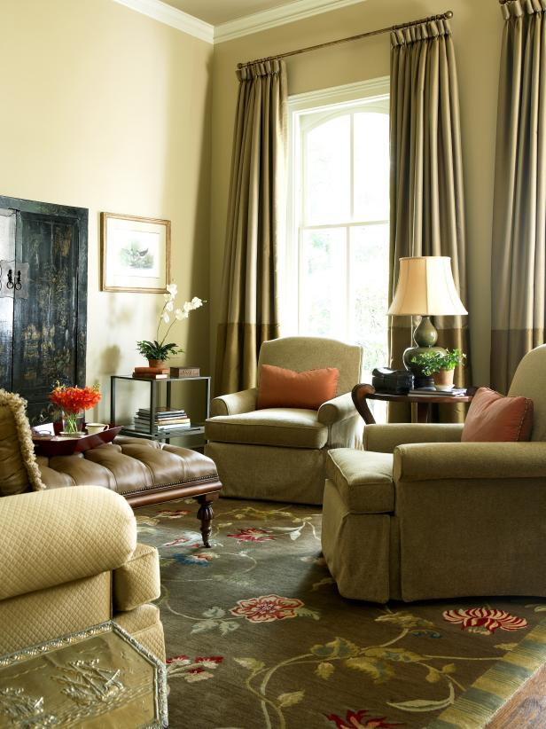 Dainty Arm  Chairs and Tufted Coffee Table on Flowery Rugs