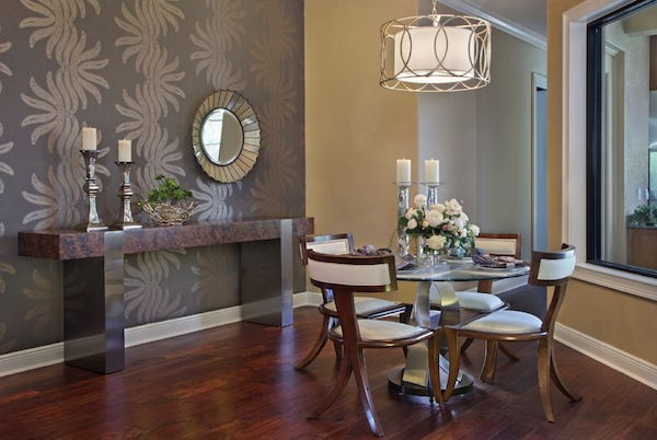 Dainty Formal Dining Room Using Round Table and Four Chairs Under Chandelier