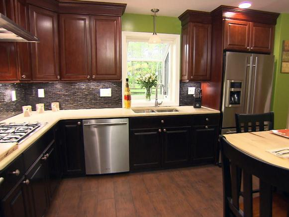 Dainty Kitchen With Lush Backsplash also Dark Tall Narrow Cabinet