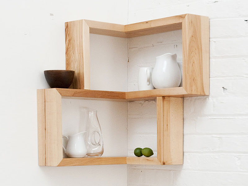 Dainty Room Furniture Using Corner Wooden Wall Shelf For Accessories