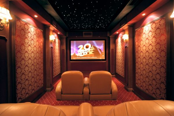 Dark Ceiling Design also Lavish Wall Lamps For Decorating Movie Room Ideas