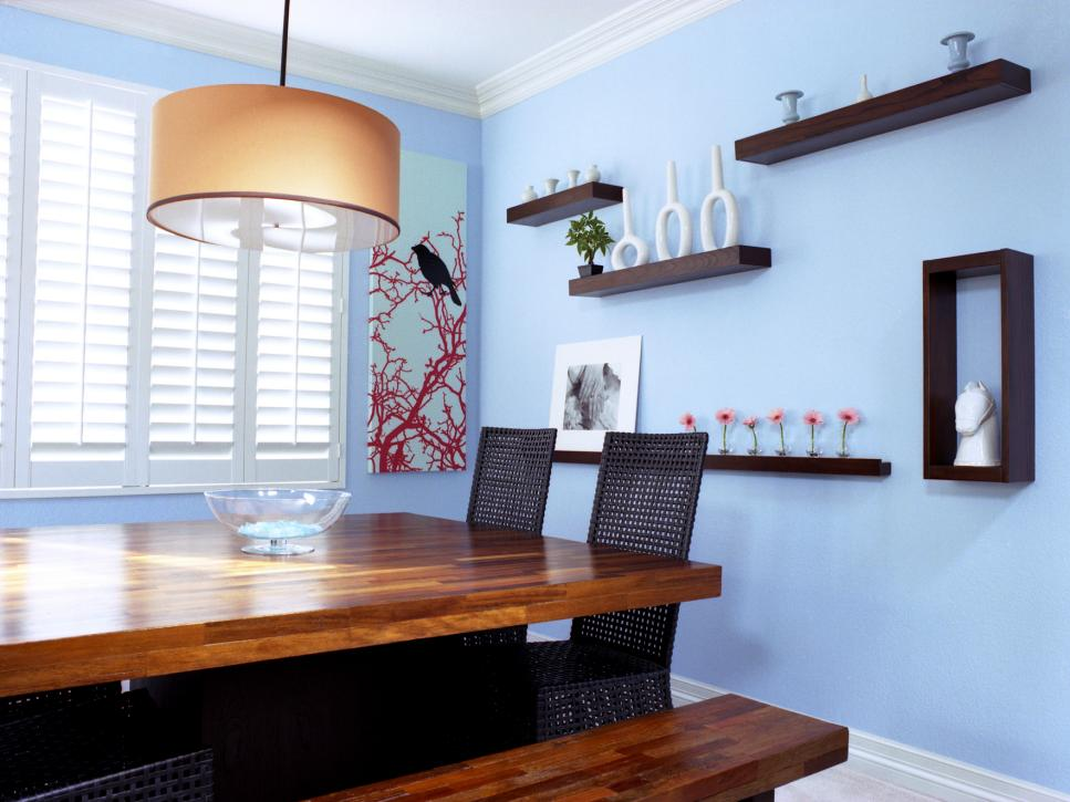 Delicate Dining Room DEcor With Large Drum Shade Chandelier also Hanging Wall Shelves