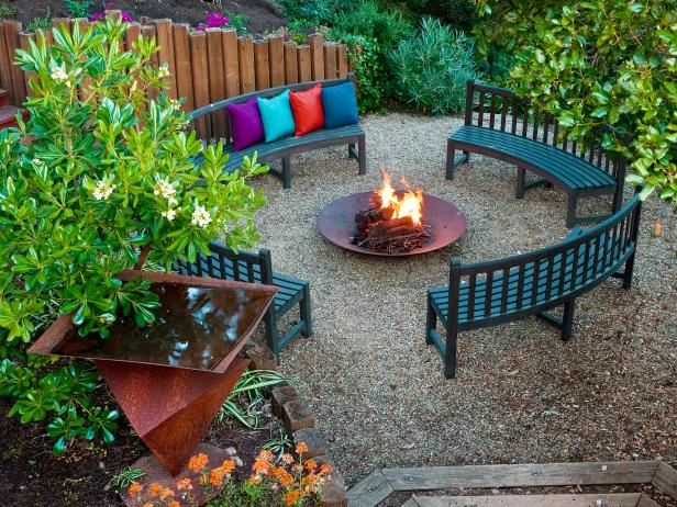 Delicate Fire Pit Seating Also Colorful Pillow Cover Plus Fresh Plants