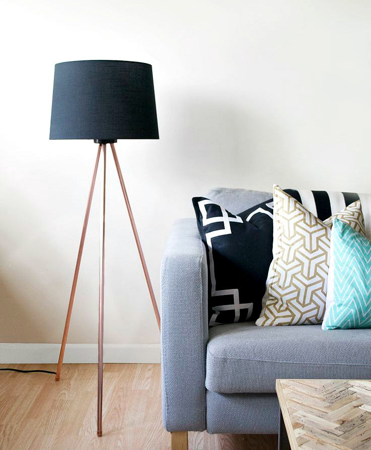 Delicate Floor Lamp With Black Drum Shade  also Brown Leg Near Sofa