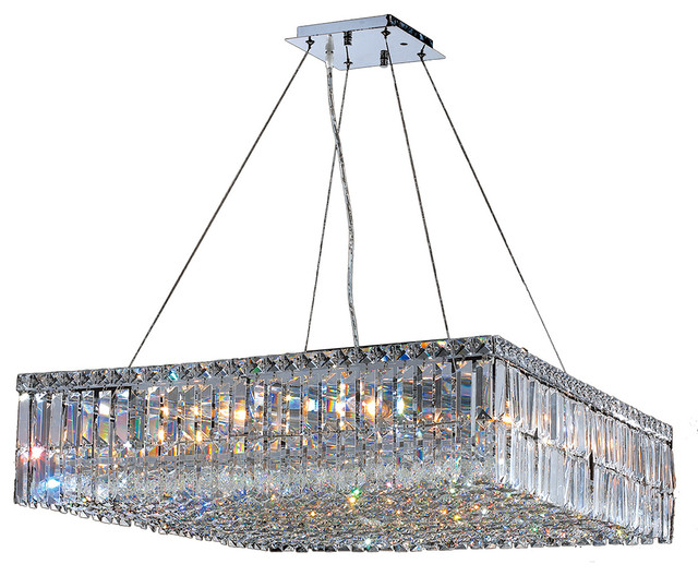 Delicate Style Of Square Crystal Chandelier With Cable and Iron Pipe