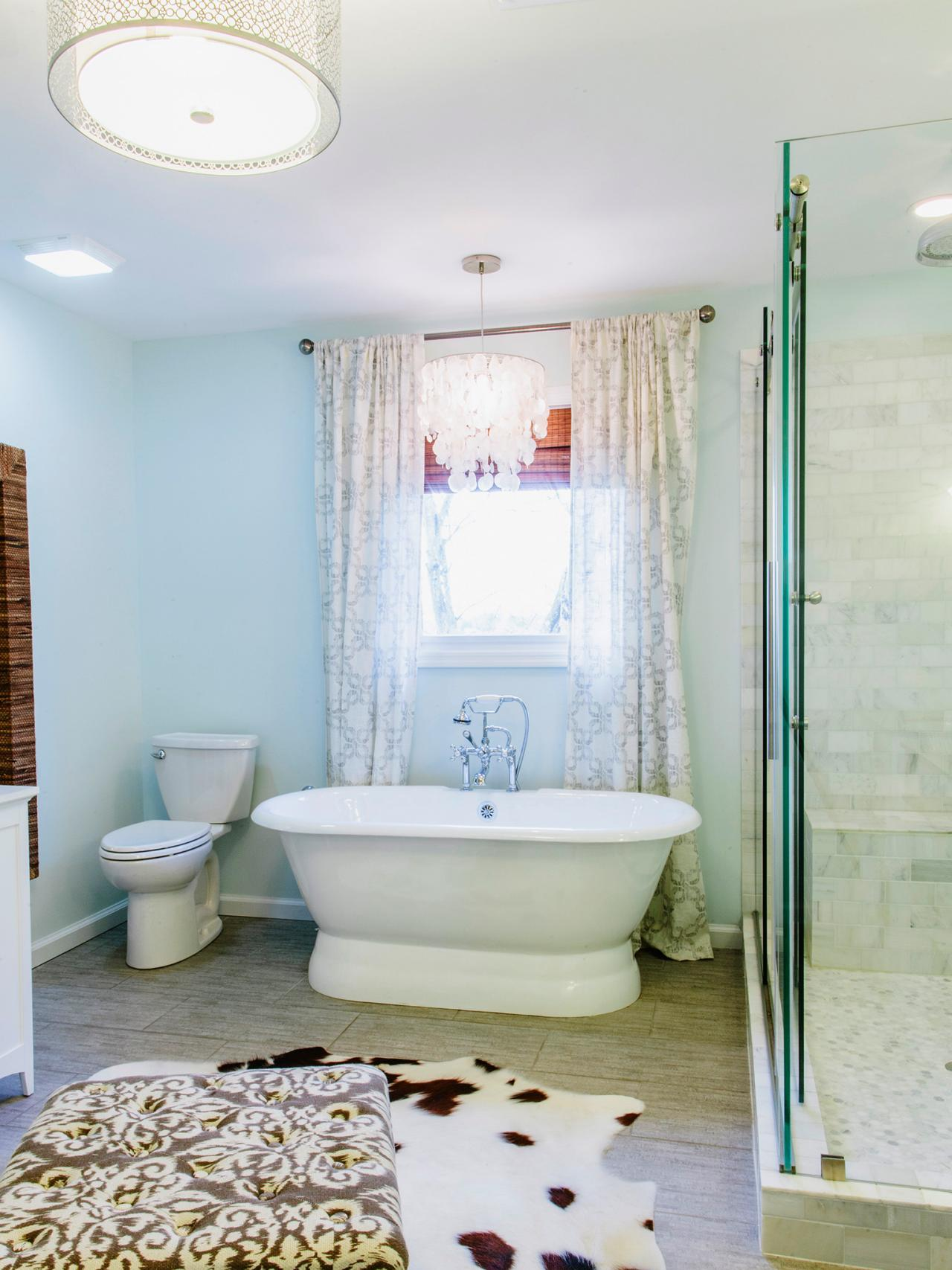 Delicate Window Bathroom Curtain Ideas also White Bathtub near Toilet