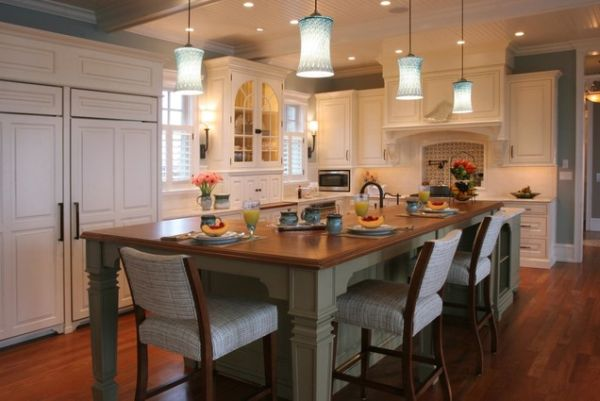 Delightful Kitchen Island With Large Table and Stools also Chandelier