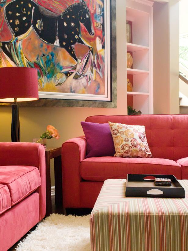Delightful Living Space  Furniture Using Red Sofa and Drum Shade  Floor Lamp