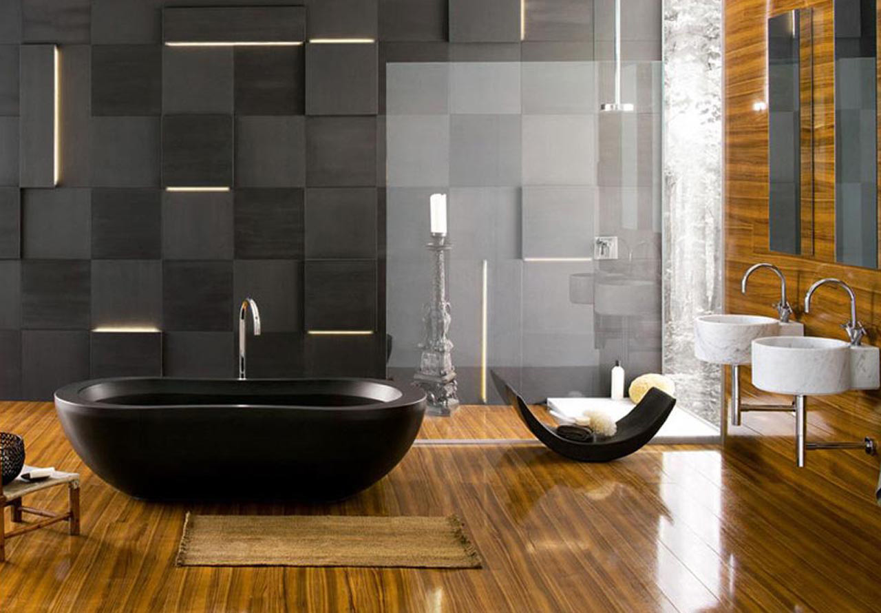 Delightful Wall Paneling Also Bathtub plus Twin Sinks and Faucets
