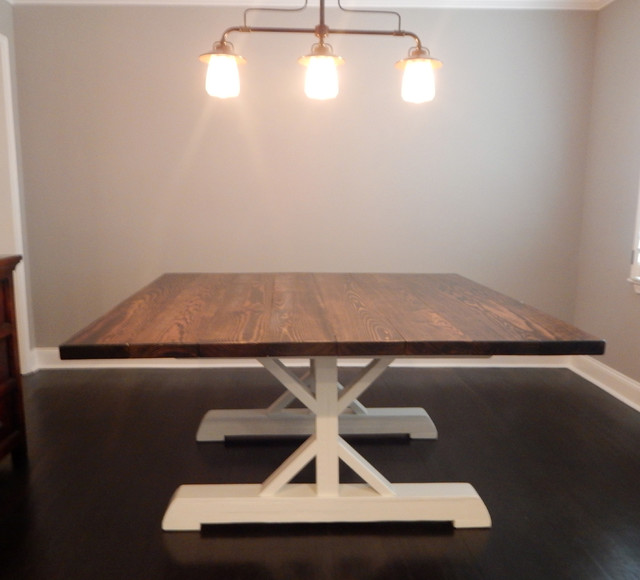 Eclectic Dining Table Design Idea With Square Wooden Top and White Legs