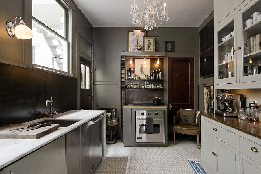 Ecletic Kitchen Using Chandelier also Wall Lamp and Chic Cabinet