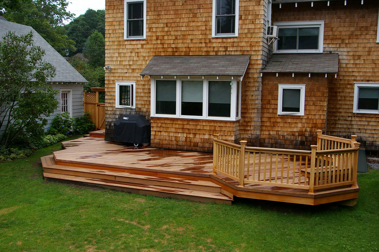 Elegant Backyard Deck Ideas With Natural Wooden Floor Tile and Railing