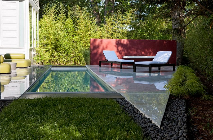 Elegant Backyard With Small Pool also Charming Long Beach Chair