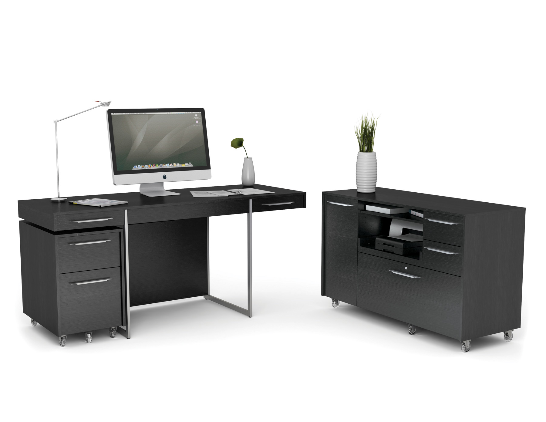 Delightful Elegant Design Of The Black Desk With Drawers With Silver Legs Added With  Black Wooden Drawers Home Design Ideas