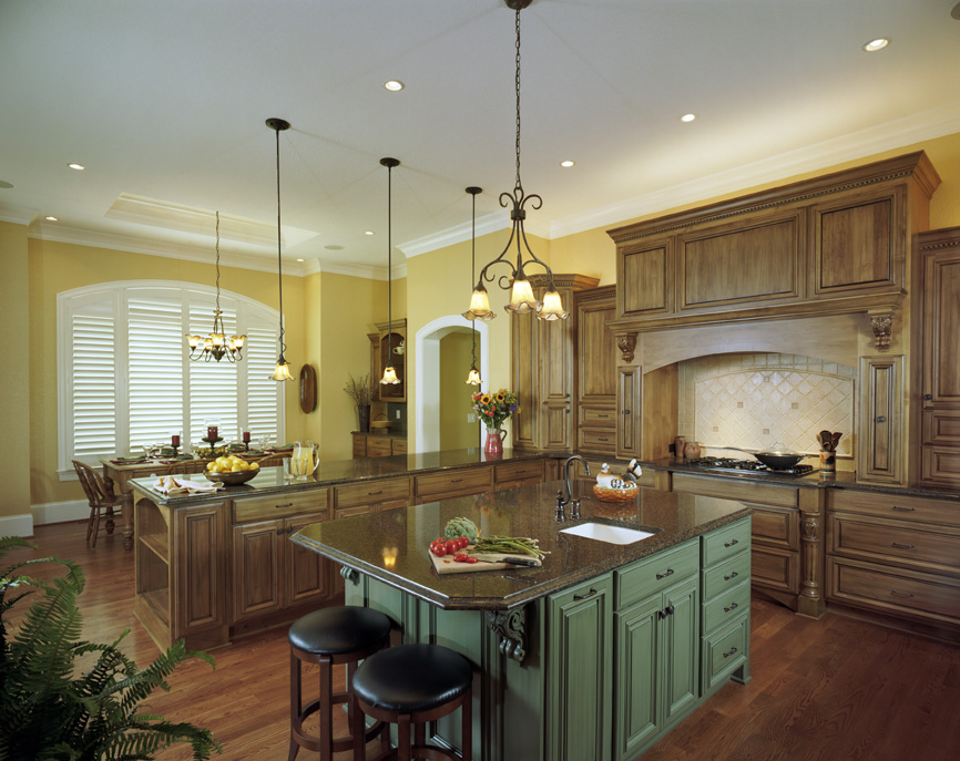 Elegant Design Of The Kitchen Layout Design With Brown Wooden Floor Ideas Added With Green Kitchen Island Added With Hanging Lamps