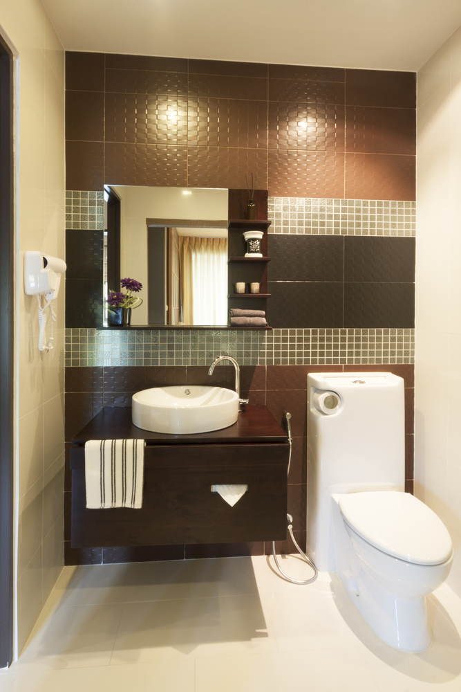 Elegant Design Of The Modern Bathroom Sinks With White Toilets And Brown Wooden Cabinets And White Bowl Sink Ideas