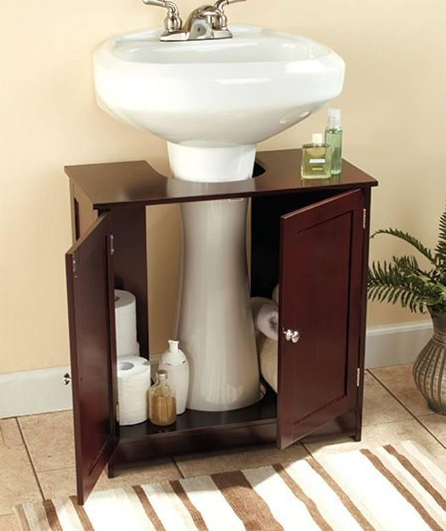 Elegant Design Of The Pedestal Sink Cabinet With Brown Wooden Materials Added With White Sink Ideas And Brown Wooden Floor Ideas
