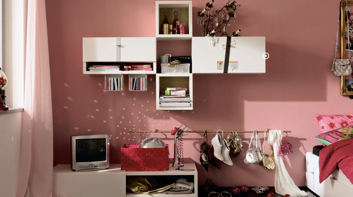 Elegant Design Of The Teenage Room Decor With Pink Wall Ideas Added With White Wooden Cabinets And White Vanities Ideas