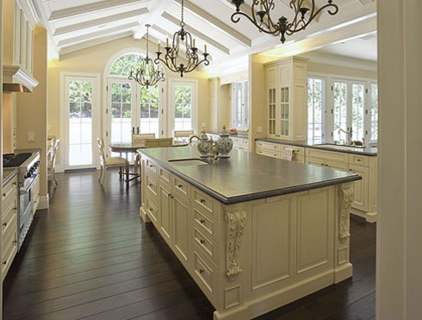 Elegant Kitchen Wall Tile also Bar Table Plus Neat Chandeliers